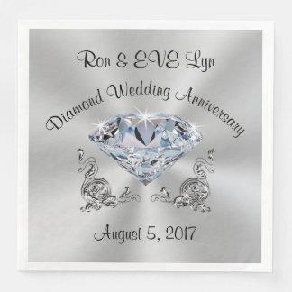 Personalized Diamond 60th Anniversary Napkins Disposable Serviette
