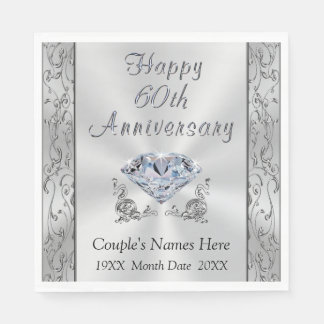 Personalized Diamond Anniversary Napkins, Stunning Paper Napkin