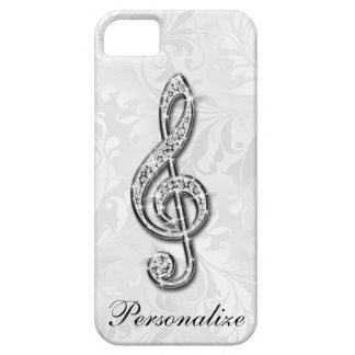 Personalized Diamond Music Note Floral Damask Barely There iPhone 5 Case