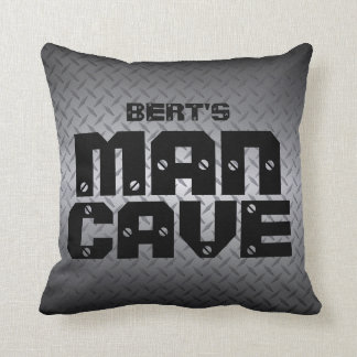 Personalized Diamondplate Man Cave Pillows