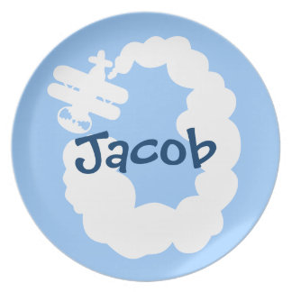 Personalized dinner plate for boy | Plane cartoon