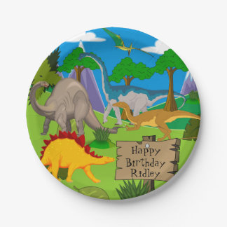 Personalized Dinosaur Birthday Paper Plate