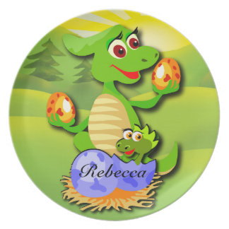 Personalized Dinosaur mother and baby cartoon Plate