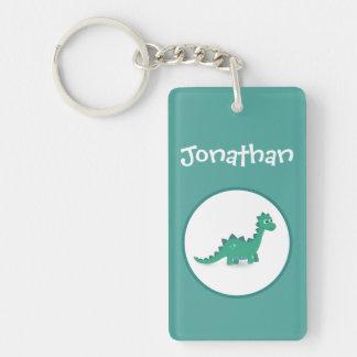 Personalized dinosaur rectangular name keychain