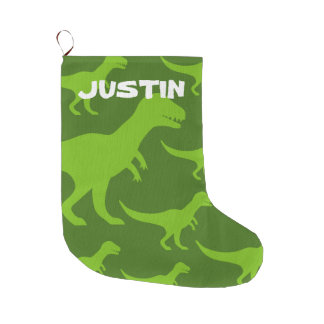 Personalized dinosaur t-rex print kids Holiday Large Christmas Stocking