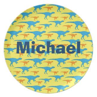 Personalized Dinosaurs Melamine Kids Custom Plate