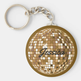 Personalized Disco Ball Keychain Brown