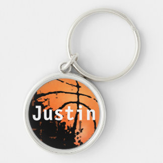 Personalized Distressed Basketball with Name Silver-Colored Round Key Ring