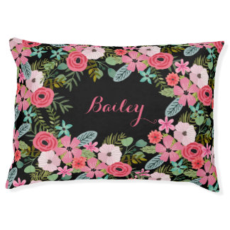 Personalized dog bed Floral pet bed Custom dog bed