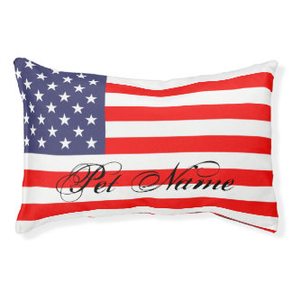 Personalized dog bed with patriotic american flag