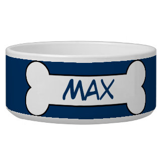 Personalized Dog Bone Ceramic Pet Bowl Blue