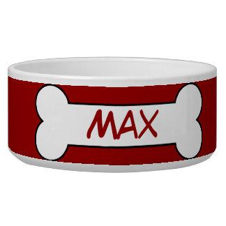 Personalized Dog Bone Ceramic Pet Bowl Red