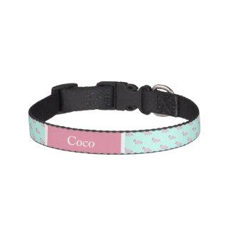 Personalized Dog Collar- Mint & Pink Flamingo Pet Collar