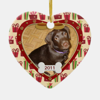 Personalized Dog Photo Frame Ceramic Ornament