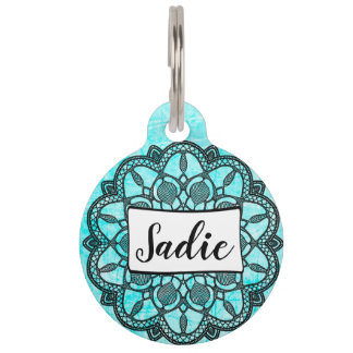 Personalized Dog Tags, Add name to Aqua Blue Black Pet Name Tag