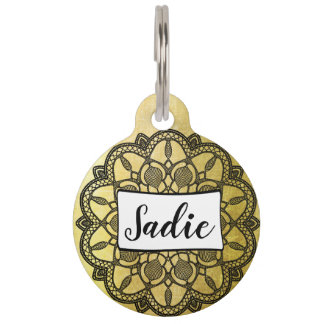 Personalized Dog Tags, Add name to Gold and Black Pet Name Tag