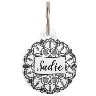Personalized Dog Tags, Black and White Mandala Pet Name Tag