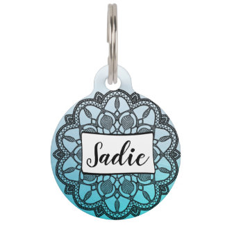 Personalized Dog Tags, blue and black Mandala Pet ID Tag