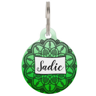 Personalized Dog Tags, green and black Mandala Pet ID Tag