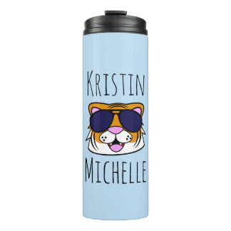 Personalized Doodle Face Tiger Thermal Tumbler