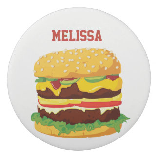 Personalized Double Cheeseburger Pencil Erasers