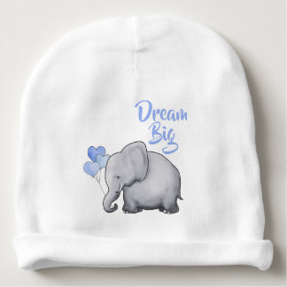 Personalized Dream Big Inspirational Cute Elephant Baby Beanie