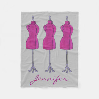 Personalized Dressform Fashion Design Mannequin Fleece Blanket