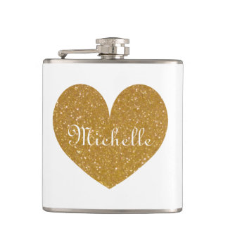 Personalized drink flask with gold glitter heart