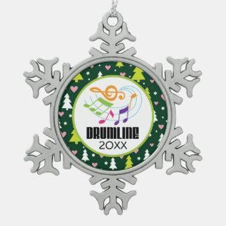 Personalized Drumline Christmas Band Pewter Snowflake Decoration