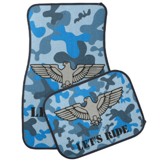 Personalized Eagle Blue Gray Camouflage Camo Car Mat