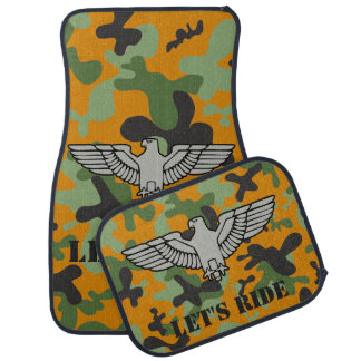 Personalized Eagle Orange Green Gray Camouflage Car Mat