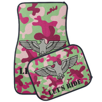 Personalized Eagle Purple Green Gray Camouflage Car Mat