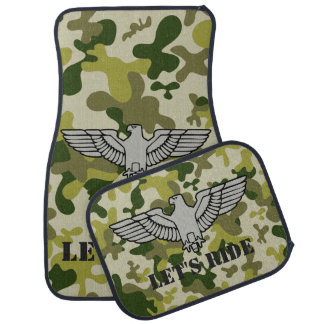Personalized Eagle Tan Green Gray Camouflage Car Mat