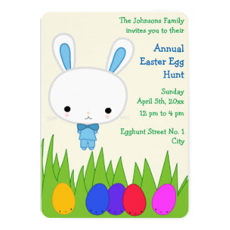 Personalized Easter Egg Hunt Invitation Blue Bunny