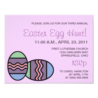 """Personalized Easter Egg Hunt Invitations, pink 4.25"""" X 5.5"""" Invitation Card"""