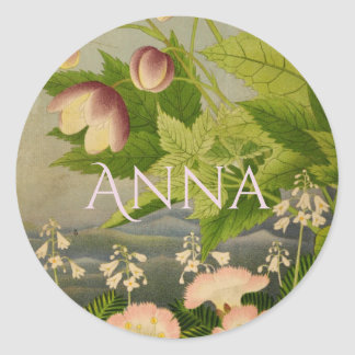 Personalized Edwardian Vintage Botanical Art Round Sticker