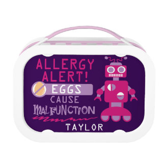 Personalized Egg Allergy Alert Magenta Robot Lunch Box