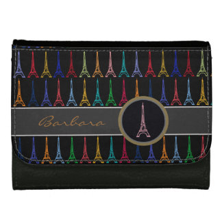 personalized Eiffel Paris France Leather Wallet