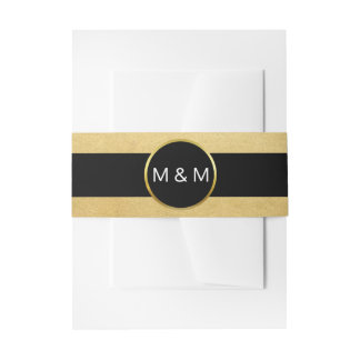 Personalized Elegant Black Faux Gold Foil Wedding Invitation Belly Band