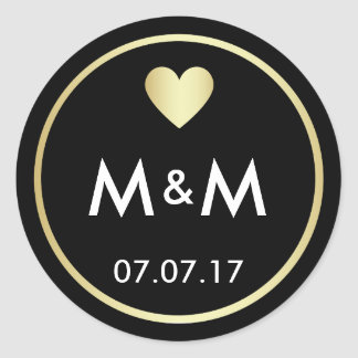 Personalized Elegant Black Gold & Heart Wedding Classic Round Sticker