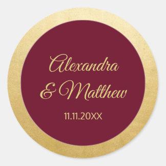 Personalized Elegant Burgundy Gold Wedding Classic Round Sticker