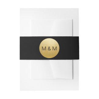 Personalized Elegant Custom Black & Gold Wedding Invitation Belly Band