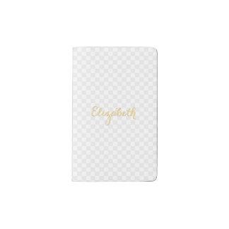 Personalized Elegant Faux Gold Name Check Pattern Pocket Moleskine Notebook