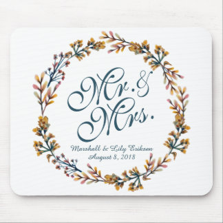Personalized Elegant Floral Wedding | Mousepad
