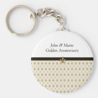 Personalized Elegant Gold Fleur de Lis Key Chains