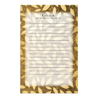 Personalized Elegant Gold Leaves Stationery