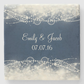 Personalized Elegant Lace and Pearls Wedding Stone Beverage Coaster