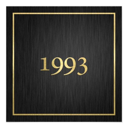Personalized Elegant Metallic Gold 1993 Custom Invitations