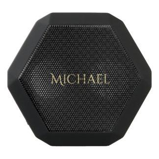 Personalized Elegant Name Black Grey Check Pattern Black Bluetooth Speaker