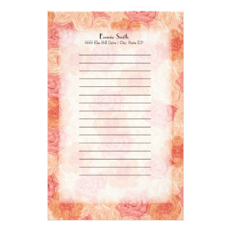 Personalized Elegant Pink and Peach Floral Stationery